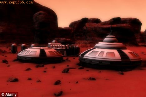 An artist's impression of a Mars base manned