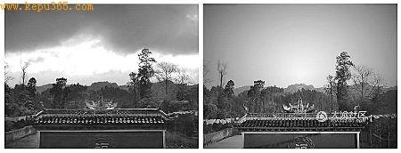 """网友拍到的""""天使光环""""(左图圈内)平时状态下的古寺屋顶(右图) 网友图"""