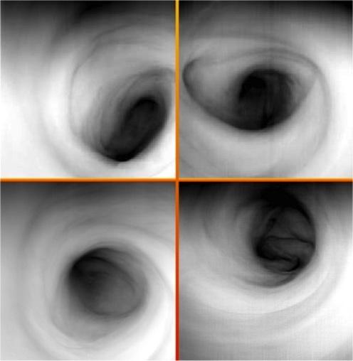 """这是一组拍摄于红外波段(波长3.8微米)的金星南极上空气旋的图像,由欧洲空间局正在金星轨道运行的""""金星快车""""探测器搭载的可见光和红外热成像光谱仪获取。图像上反映的是金星上空大约65公里的高度上的云层顶温度分布情况。暗色区域指代温度较高。也就是高度较低的区域。可以看到在气旋的中心,温度约为250K(约合23摄氏度)的温度区间上是这个气旋中海拔高度最低的区域,显示了最高的温度数值"""