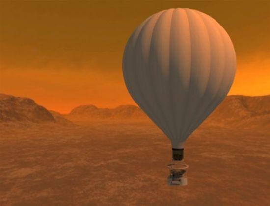 """艺术概念图,展现了飞抵土卫六""""泰坦""""的太空探索热气球原型"""