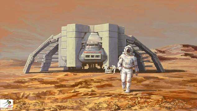 火星空间站的概念设计图。