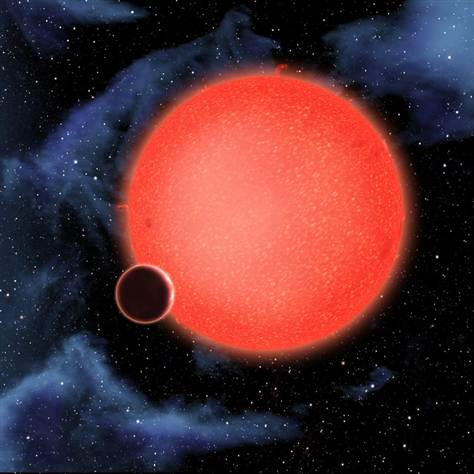 """""""超级地球""""GJ 1214b正在环绕着一颗红矮星运行。"""