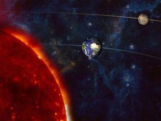 天文学家描绘火星冲日,火星和太阳位于地球的两边