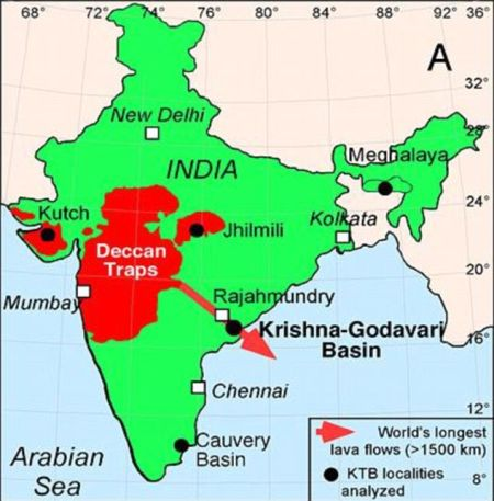 德干地盾的面积相当于法国的3倍,位于印度西部,是一个原始火山链。大规模火山喷发导致大气层中充斥着大量可以改变气候的二氧化碳和二氧化硫